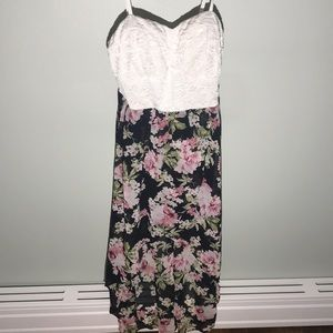 Lily Rose white floral high low dress XL